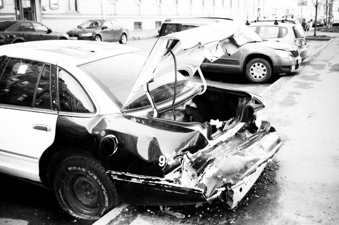 Picture of a car accident.